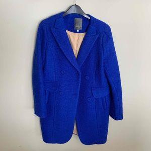 Wool Blend Coat Blue